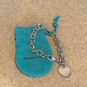 Tiffany & Co Silver Heart Tag Chain Link Bracelet